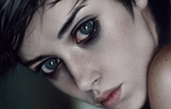 Picture eyes, look, girl, face, beauty, art, lips, beauty, cutie