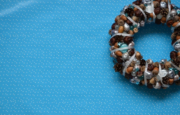 Picture blue, new year, point, bumps, acorns, chestnuts, DIY, novogodnii wreath, made by hand