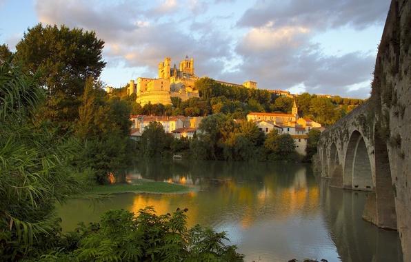 Picture bridge, river, France, Church, St. Nazaire