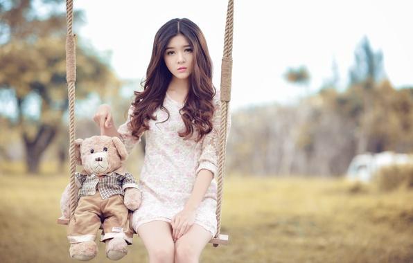 Picture girl, swing, mood, bear