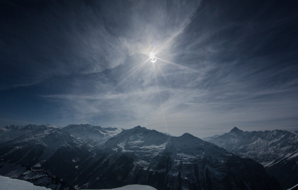 Picture the sky, clouds, mountains, solar Eclipse, 2015