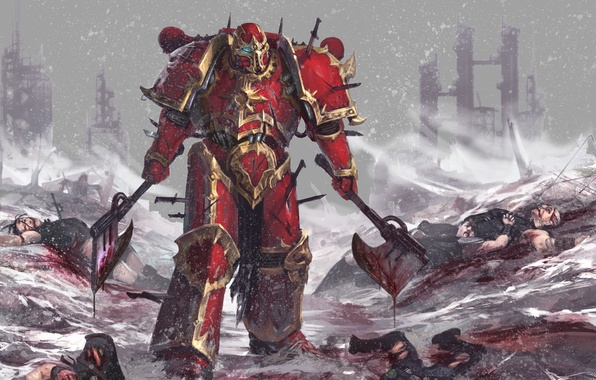 Picture snow, weapons, warrior, ruins, Warhammer, corpses, power armor