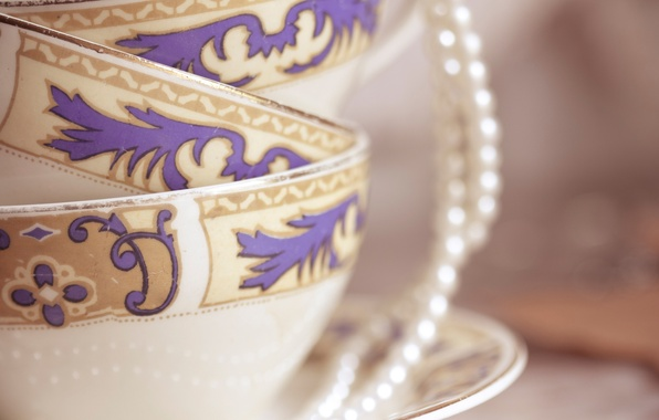 Picture pattern, figure, Cup, pearl, beads, mugs, beads, saucer, glaze, porcelain
