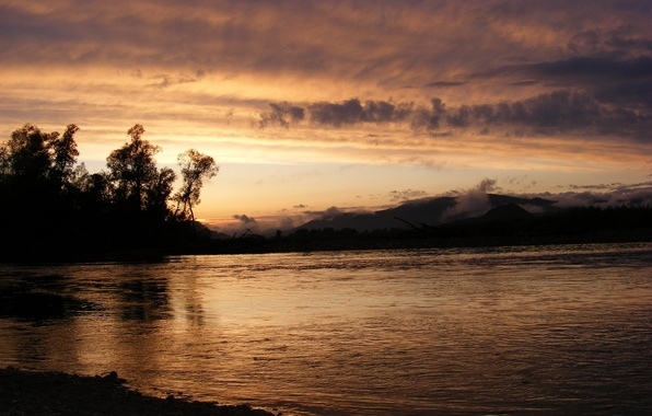Picture sunset, nature, river, shore