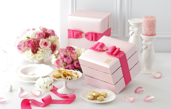 Picture flowers, pink, roses, candle, bouquet, petals, cookies, tape, bow, box, decor