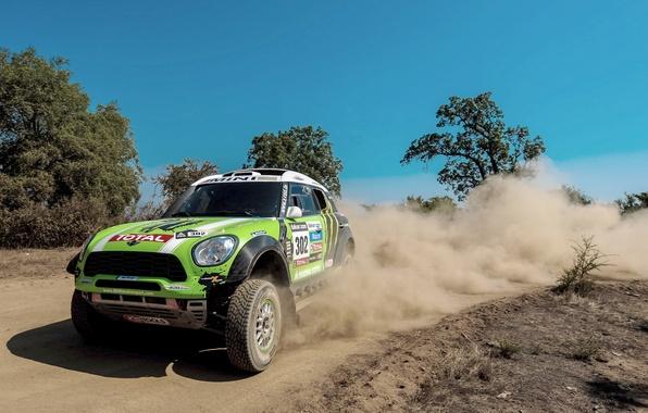 Picture Dust, Wheel, Green, Skid, Lights, Mini Cooper, Rally, Dakar, MINI, The front, Mini Cooper, X-raid