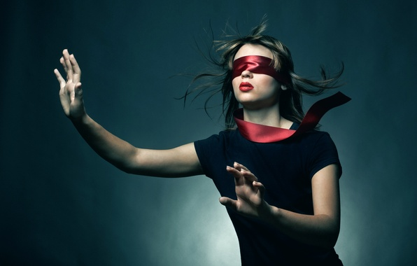 Picture girl, headband, young woman blindfold