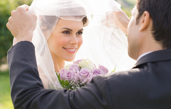 Picture flowers, smile, bouquet, the bride, veil, wedding, the groom