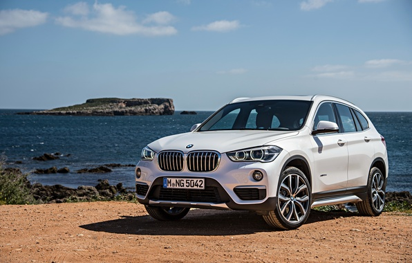 Picture sand, sea, shore, BMW, BMW, xDrive, SUV, 2015, F48, xLine