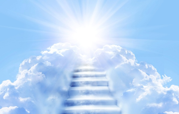 Picture the sky, the sun, clouds, rays, blue, ladder, stage