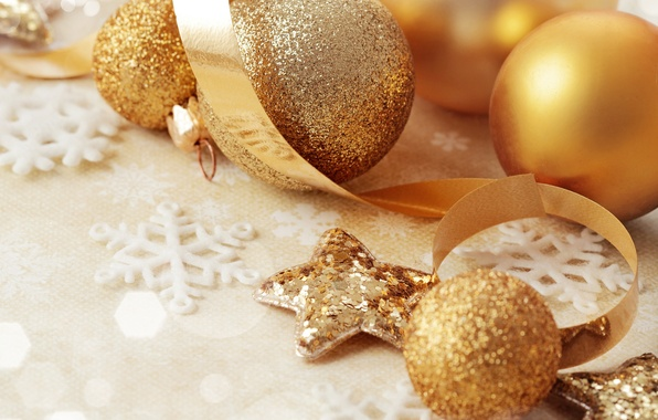 Picture balls, decoration, snowflakes, glare, holiday, toys, Shine, New year, stars, shiny, ribbons, Golden