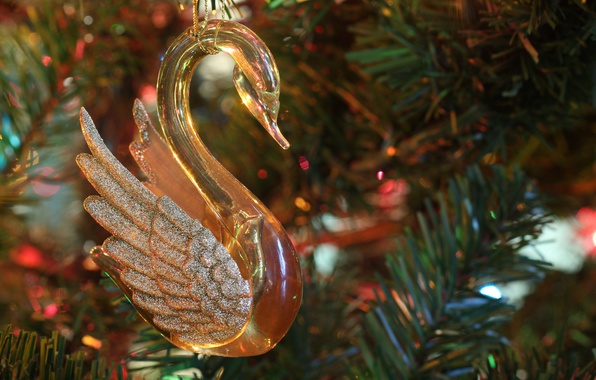 Picture holiday, toy, new year, Christmas, Swan, tree, decoration, needles