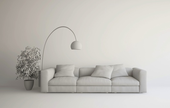 Picture design, lamp, couch, living