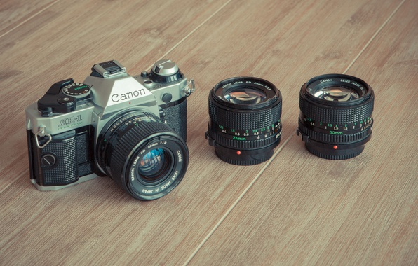 Picture wood, camera, Canon, lenses