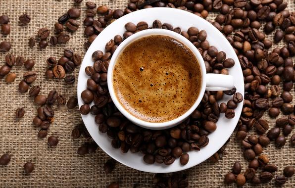 Picture foam, coffee, grain, Cup, burlap, saucer