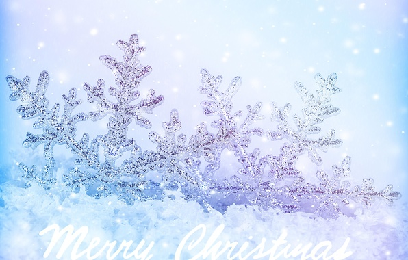 Picture winter, snow, snowflakes, new year, Christmas