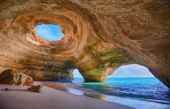 Picture sand, sea, rock, stones, shore, arch, Portugal, portugal, algarve, Algarve