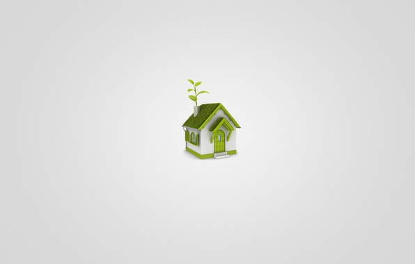 Picture white, grass, leaves, green, house, minimalism, house, light background