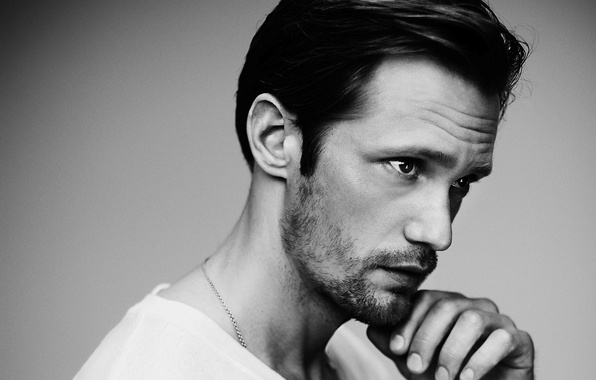 Picture look, face, hand, black and white, male, Alexander Skarsgård, Alexander Skarsgard, Alexander Skarsgard
