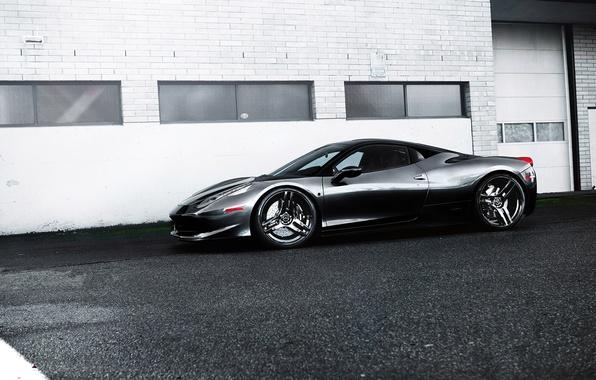 Picture grey, black, the building, Windows, profile, wheels, ferrari, Ferrari, drives, black, grey, Italy, 458 italia