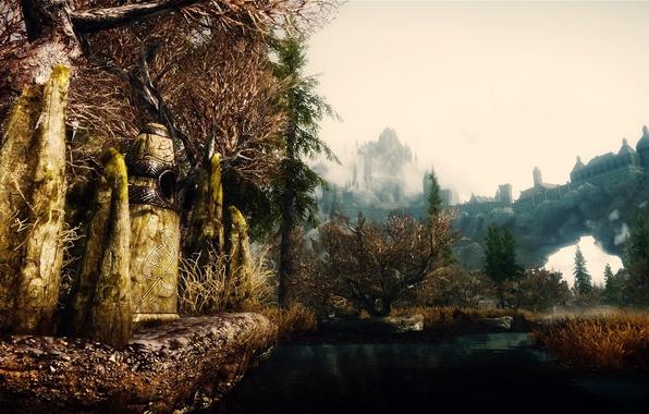 Picture nature, castle, rocks, stone, the game, render, Skyrim, The Elder Scrolls 5 Skyrim