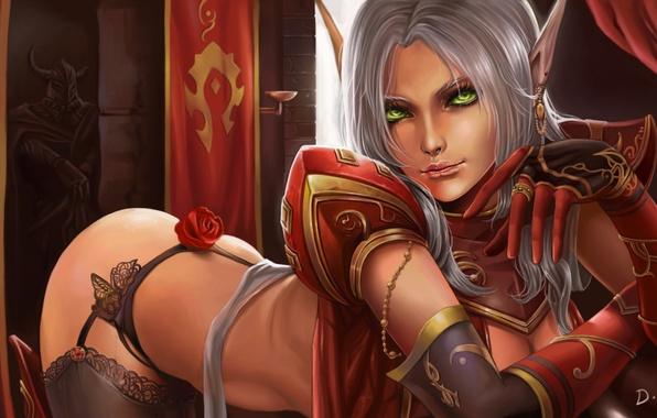 Picture elf, rose, stockings, art, statue, elf, ears, World of warcraft, green eyes, rosette