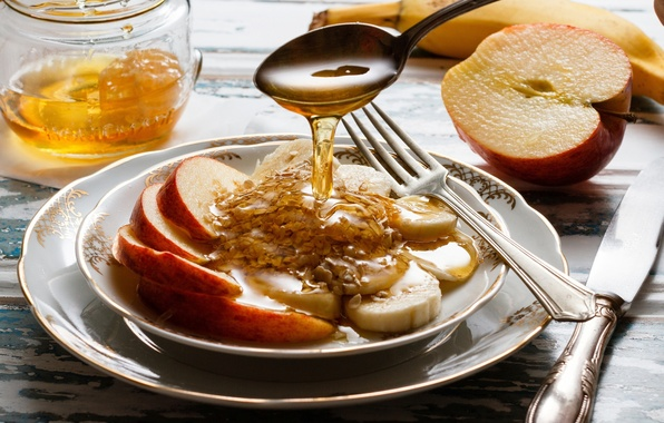 Picture apples, Breakfast, honey, spoon, knife, bananas, plates, plug, muesli