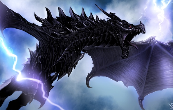 Picture zipper, dragon, wings, flight, art, Skyrim, The Elder Scrolls V, by TheRisingSoul, Alduin