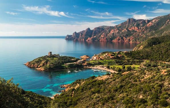 Picture sea, mountains, rocks, coast, France, home, Bay, yachts, fortress, Corsica
