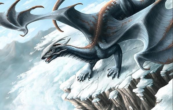 Picture winter, mountains, fantasy, dragon, avalanche