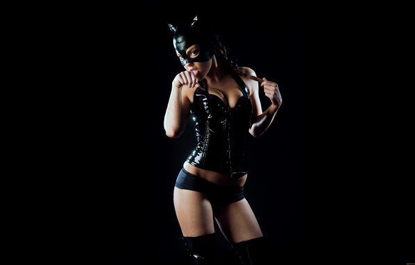 Picture BACKGROUND, MASK, BODY, LOOK, BLACK, LANGUAGE, SHORTS, FIGURE, CAT, COSTUME, CORSET, LEATHER, BOOTS
