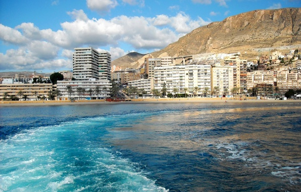 Picture sea, wave, the sky, water, clouds, mountains, the city, building, Spain, country, Roquetas de Mar, …
