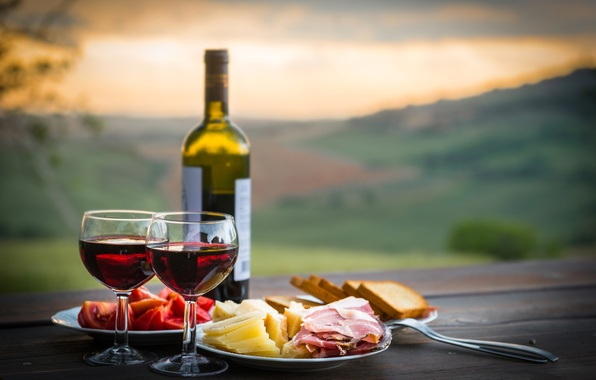 Picture landscape, table, wine, bottle, cheese, glasses, bread, plates, plug, tomatoes, bokeh, ham