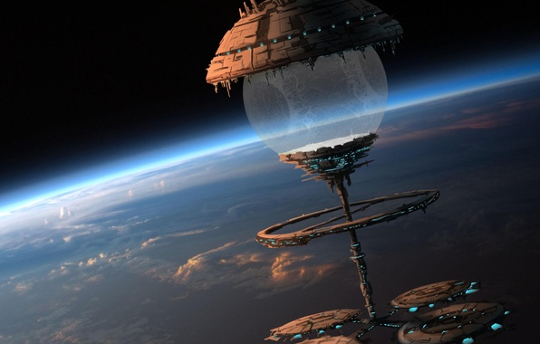 Picture space, clouds, ship, planet, ball, station, the atmosphere, art, sphere, maxime duchamp