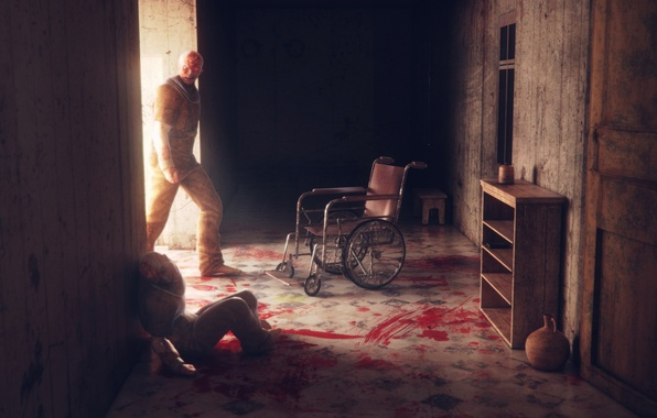 Picture death, blood, corridor, dead, outlast, hospital
