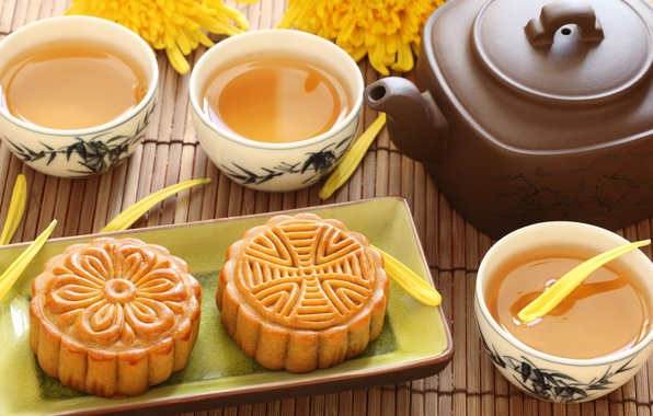 Picture flowers, green, tea, kettle, cookies, the tea party, Cup, cake, chrysanthemum, dessert, Chinese