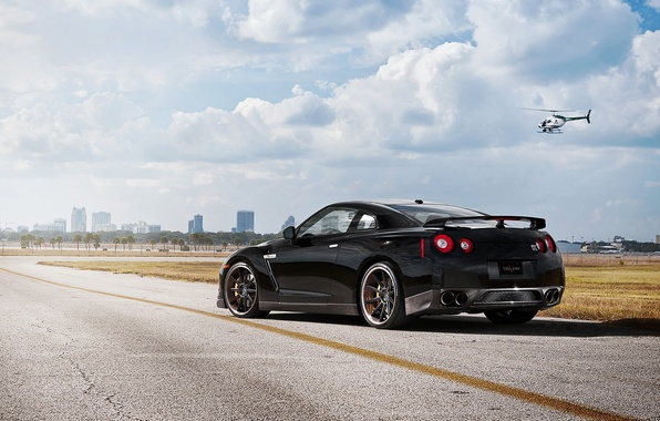 Picture the sky, clouds, black, nissan, helicopter, black, rear view, Nissan, gtr, r35, gt-R
