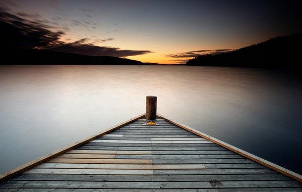 Picture Resistance, sunset, lake, pier, triangle