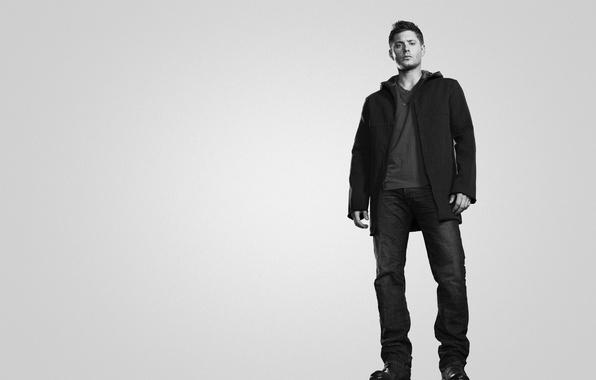 Picture black and white, Supernatural, Jensen Ackles, Jensen Ackles
