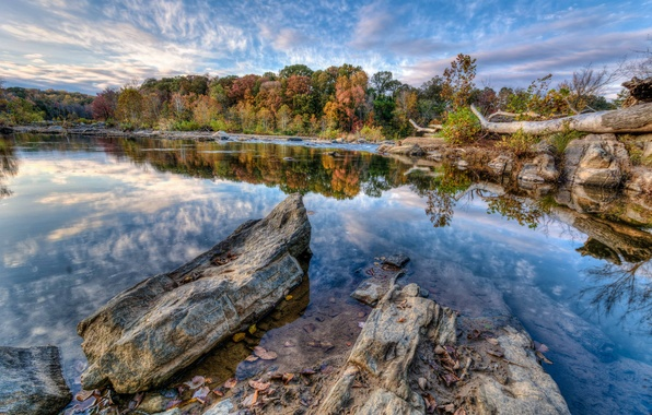 Picture autumn, the sky, clouds, trees, lake, stones