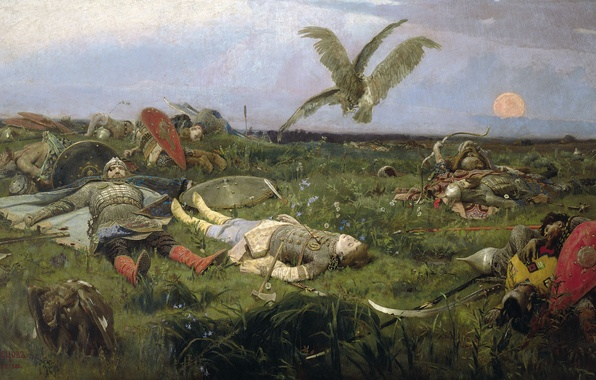 Picture birds, picture, heroes, history, Vasnetsov Viktor, After the battle of Igor Svyatoslavich with the Polovtsy