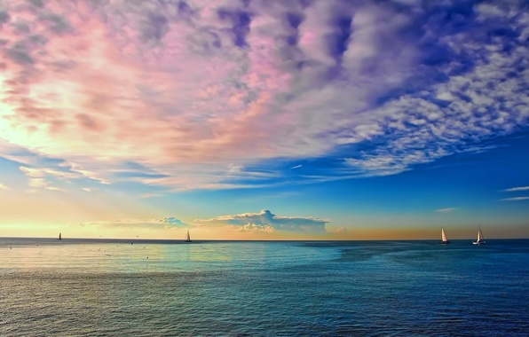 Picture SEA, HORIZON, The OCEAN, The SKY, CLOUDS, COLOR, MAST, SAILS, YACHTS, DAL
