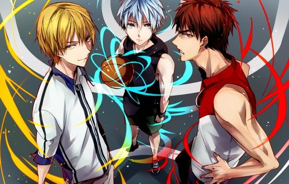 Picture the ball, anime, art, guys, kuroko tetsuya, kuroko from basket, kuroko's basketball, kagami taiga, kise …