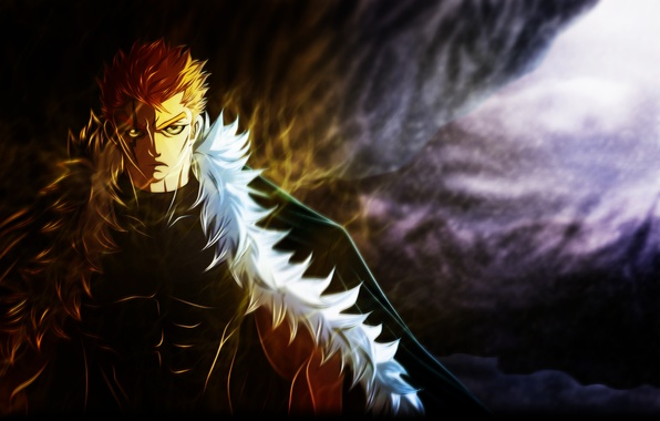 Picture anime, art, fur, guy, scar, muscles, fairy tail, tale of fairy tail, deohvi, laxus dreyar
