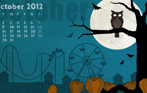Picture night, tree, owl, the moon, a month, October, pumpkin, Halloween, calendar, amusement, owl, helloween, october