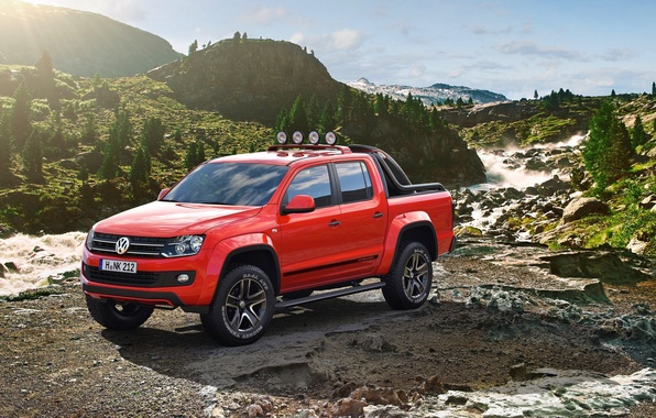 Picture mountains, stones, tuning, Volkswagen, drives, Amarok, show car, exotic painting, extra lights, Canyon