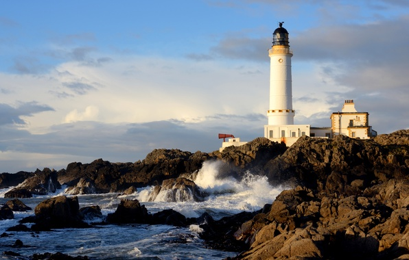 Picture sea, the sky, clouds, house, stones, rocks, lighthouse, Scotland