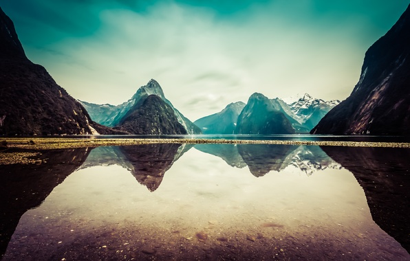 Picture clouds, snow, mountains, lake, reflection, New Zealand, New Zealand, mountains, clouds, lake, snow, reflection, Milford …