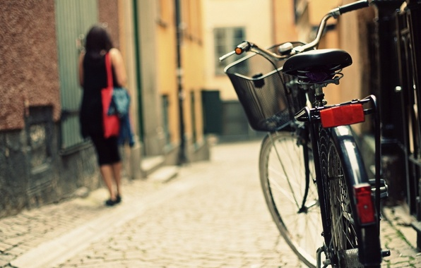 Picture bike, the city, street, bicycle, photography, bike, woman, street