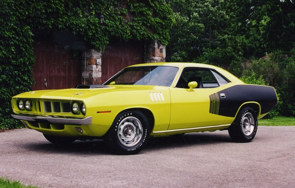 Picture yellow, gate, the fence, 1971, side view, black, muscle car, Plymouth, shrub, Plymouth, WHERE, CUDA, …